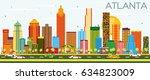 atlanta skyline with color... | Shutterstock . vector #634823009