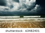 Sea Yellow Sand And Sky With...