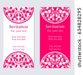 vintage invitation and wedding... | Shutterstock .eps vector #634828295