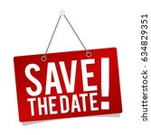 save the date   hanging door... | Shutterstock .eps vector #634829351