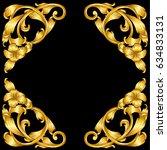 hand draw vintage gold baroque... | Shutterstock .eps vector #634833131