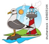 seagull and lighthouse.... | Shutterstock .eps vector #634835144