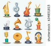 cartoon music award statuette... | Shutterstock .eps vector #634851815