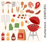 barbecue home or restaurant... | Shutterstock .eps vector #634851851