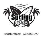 summer surfing retro badge....