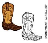 hand drawn cowboy boots... | Shutterstock .eps vector #634862609