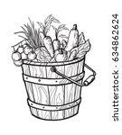 fresh vegetables in box.... | Shutterstock .eps vector #634862624