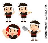 vector japanese chef character...   Shutterstock .eps vector #634865645