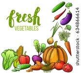 set of colorful sketch... | Shutterstock . vector #634866614