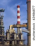 Detailed view of a deactivated petrochemical refinery section.(Late evening light) - stock photo