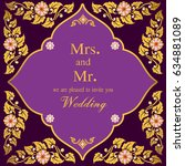 vintage invitation and wedding... | Shutterstock .eps vector #634881089