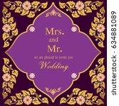 vintage invitation and wedding... | Shutterstock .eps vector #634881089