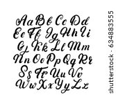 hand written lettering font.... | Shutterstock .eps vector #634883555