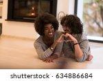 beautiful young multiethnic... | Shutterstock . vector #634886684