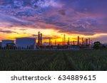 sunrise scence of oil refinery...   Shutterstock . vector #634889615