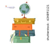stack of suitcases and globe.... | Shutterstock .eps vector #634891121