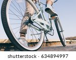 blue vintage bicycle with white ... | Shutterstock . vector #634894997