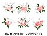 bouquet of pink roses  delicate ... | Shutterstock . vector #634901441