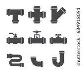 water pipes set black vector... | Shutterstock .eps vector #634918091