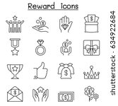 reward   bonus icon set in thin ... | Shutterstock .eps vector #634922684
