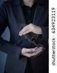 businessman touching global... | Shutterstock . vector #634923119