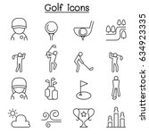 golf icon set in thin line style | Shutterstock .eps vector #634923335