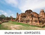 mahathat temple in ayutthaya... | Shutterstock . vector #634926551
