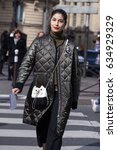 Small photo of PARIS-MARCH 3, 2017. Caroline Issa Street style fashion during Paris fashion week. Ready to wear.