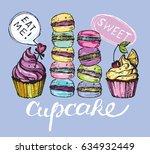 hand drawn doodle cupcake. eat... | Shutterstock .eps vector #634932449