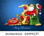 santa claus sitting in armchair ... | Shutterstock .eps vector #63494137