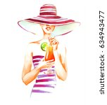 girl in hat and swimsuit with... | Shutterstock . vector #634943477