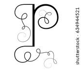 calligraphic letter p with... | Shutterstock .eps vector #634944521