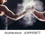 hands together   fitness team...   Shutterstock . vector #634945877