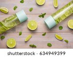 detox infused water with lime... | Shutterstock . vector #634949399