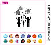 cheering people and firework... | Shutterstock .eps vector #634954265