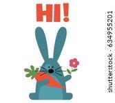 blue bunny with carrot flower... | Shutterstock .eps vector #634955201