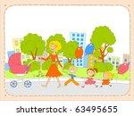 happy woman walks with her... | Shutterstock . vector #63495655