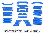 set of blue ribbons. vector... | Shutterstock .eps vector #634960049