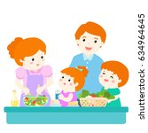 happy family cook healthy food... | Shutterstock .eps vector #634964645