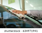 automobile windshield wipe at... | Shutterstock . vector #634971941