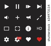 media player vector icons set...