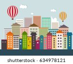 abstract eco city with colorful ... | Shutterstock .eps vector #634978121