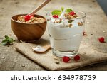 homemade yogurt with granola ... | Shutterstock . vector #634978739