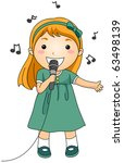 Illustration of a Singing Girl - stock vector