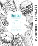 burgers and ingredients vector... | Shutterstock .eps vector #634981985