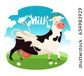 cute cow with milk bottle... | Shutterstock .eps vector #634983929