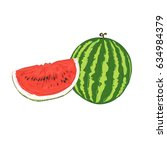 watermelon  sketch style ... | Shutterstock .eps vector #634984379