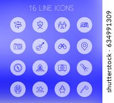 set of 16 outdoor outline icons ...