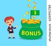 cartoon businesswoman with big... | Shutterstock .eps vector #634991789