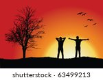 Two Men Standing On Hill Near...